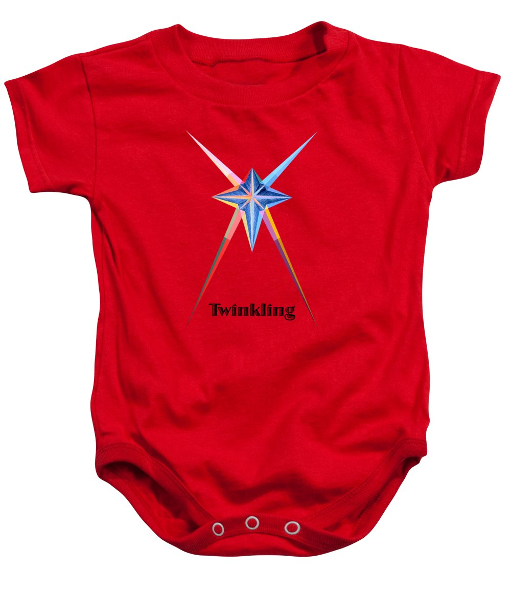 Collection Baby Onesie featuring the painting Twinkling text by Michael Bellon