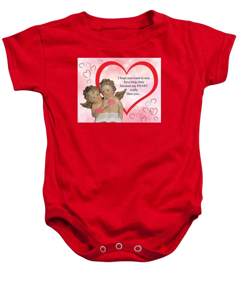 Heart Baby Onesie featuring the digital art Two Angels And The Heart by Mirna Milostic