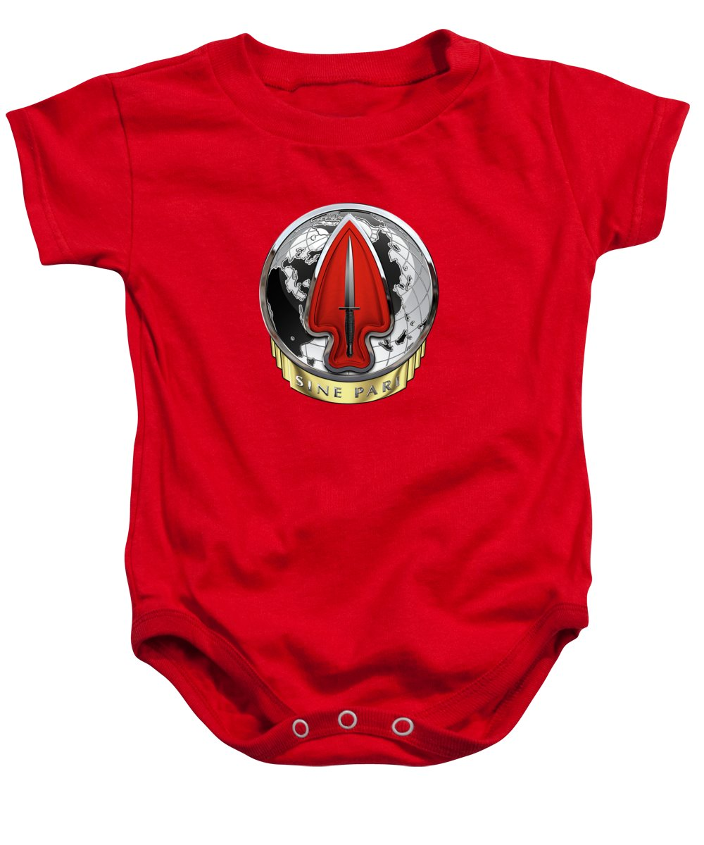 'military Insignia 3d' Collection By Serge Averbukh Baby Onesie featuring the digital art U. S. Army Special Operations Command - U S A S O C  D U I Over Red Velvet by Serge Averbukh