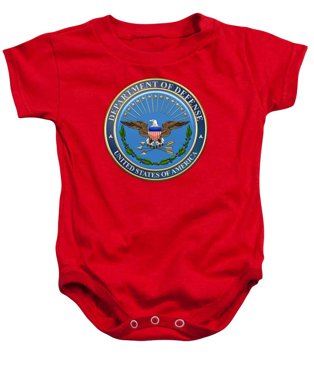 'military Insignia & Heraldry 3d' Collection By Serge Averbukh Baby Onesie featuring the digital art U. S. Department Of Defense - D O D Emblem Over Red Velvet by Serge Averbukh