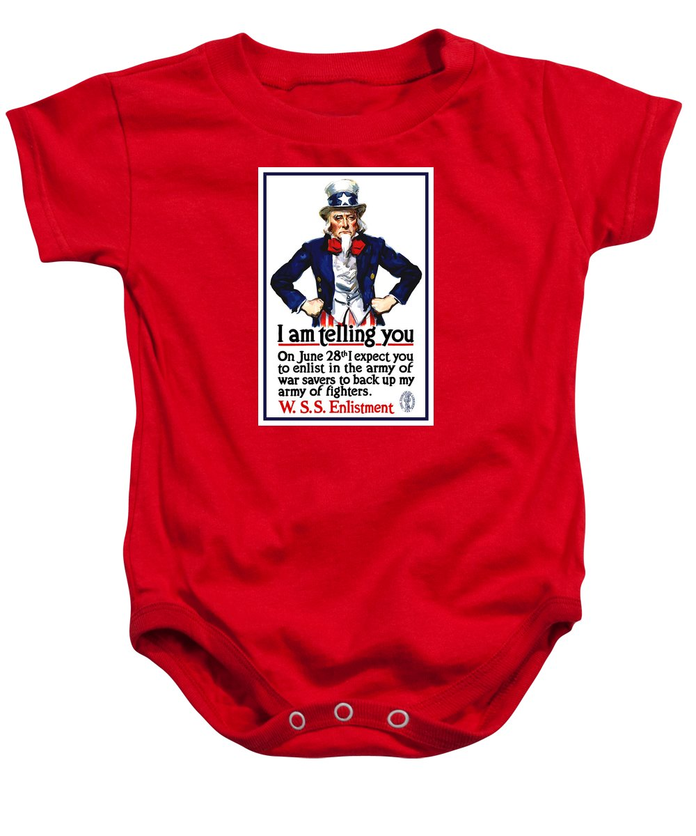 Uncle Sam Baby Onesie featuring the painting Uncle Sam -- I Am Telling You by War Is Hell Store
