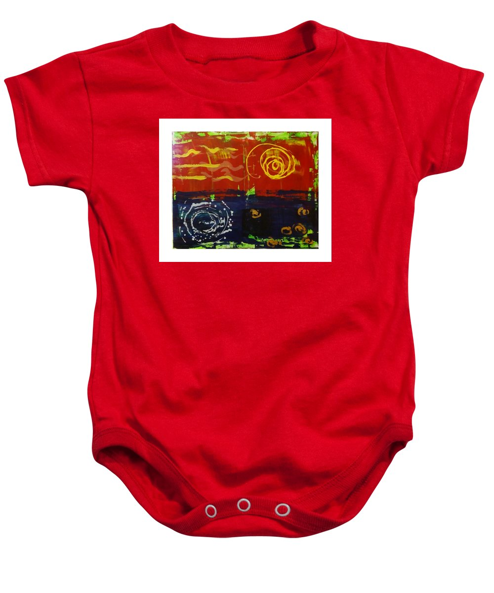 Abstract Baby Onesie featuring the painting Up Is Down by Estella Mendez