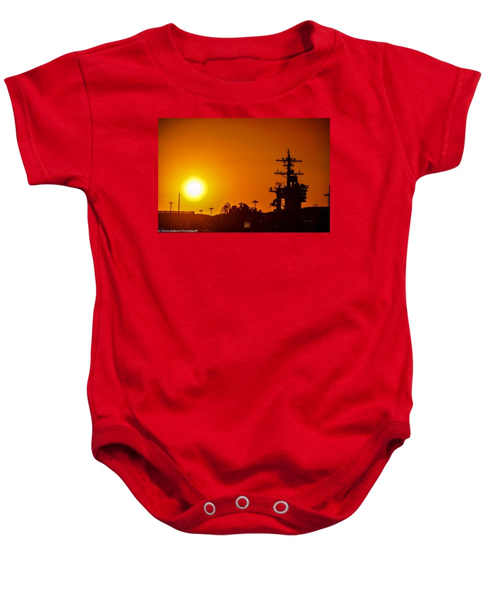 Aircraft Carrier Baby Onesie featuring the photograph Uss Carl Vinson At Sunset 3 by Tommy Anderson