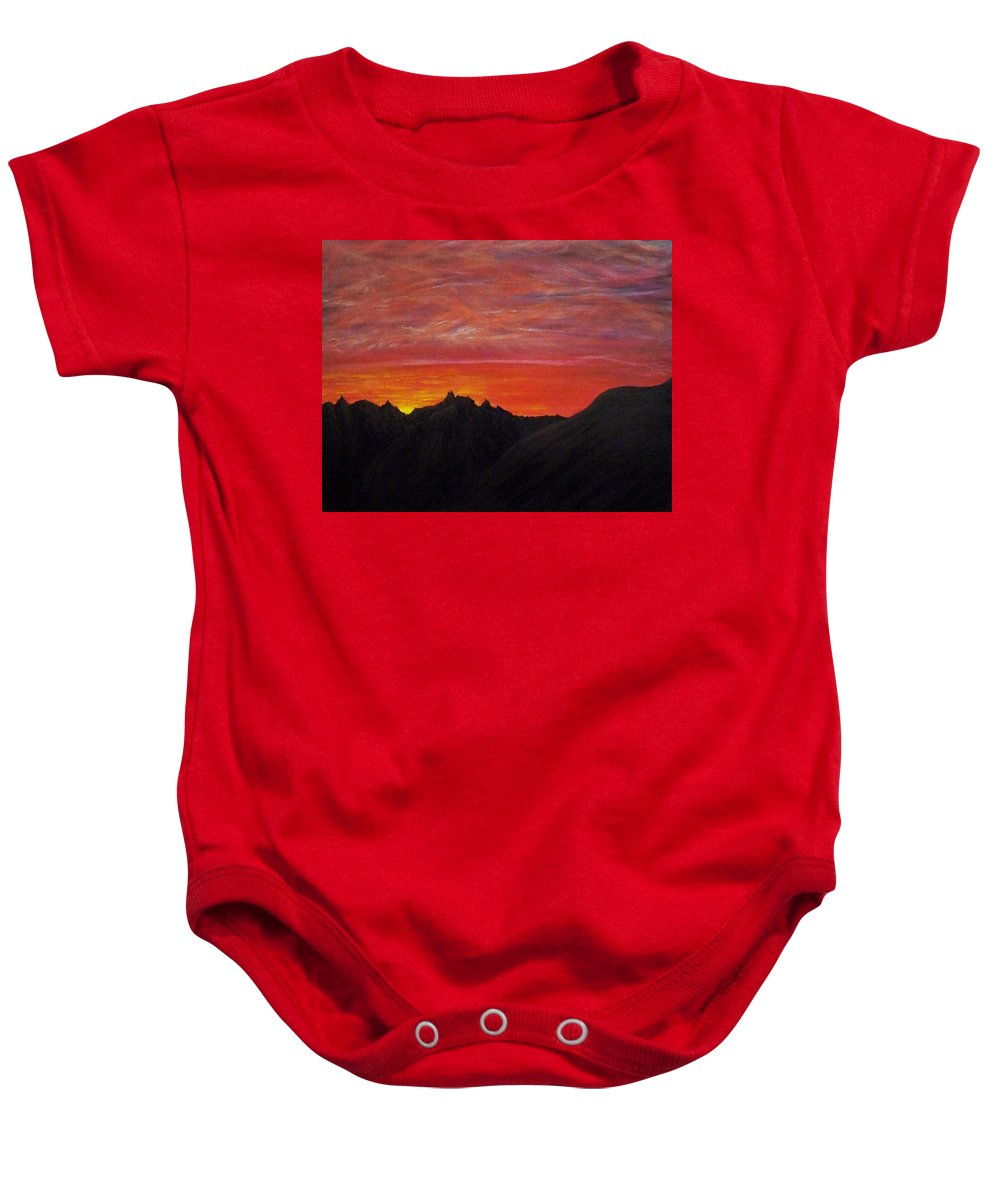 Sunset Baby Onesie featuring the painting Utah Sunset by Michael Cuozzo