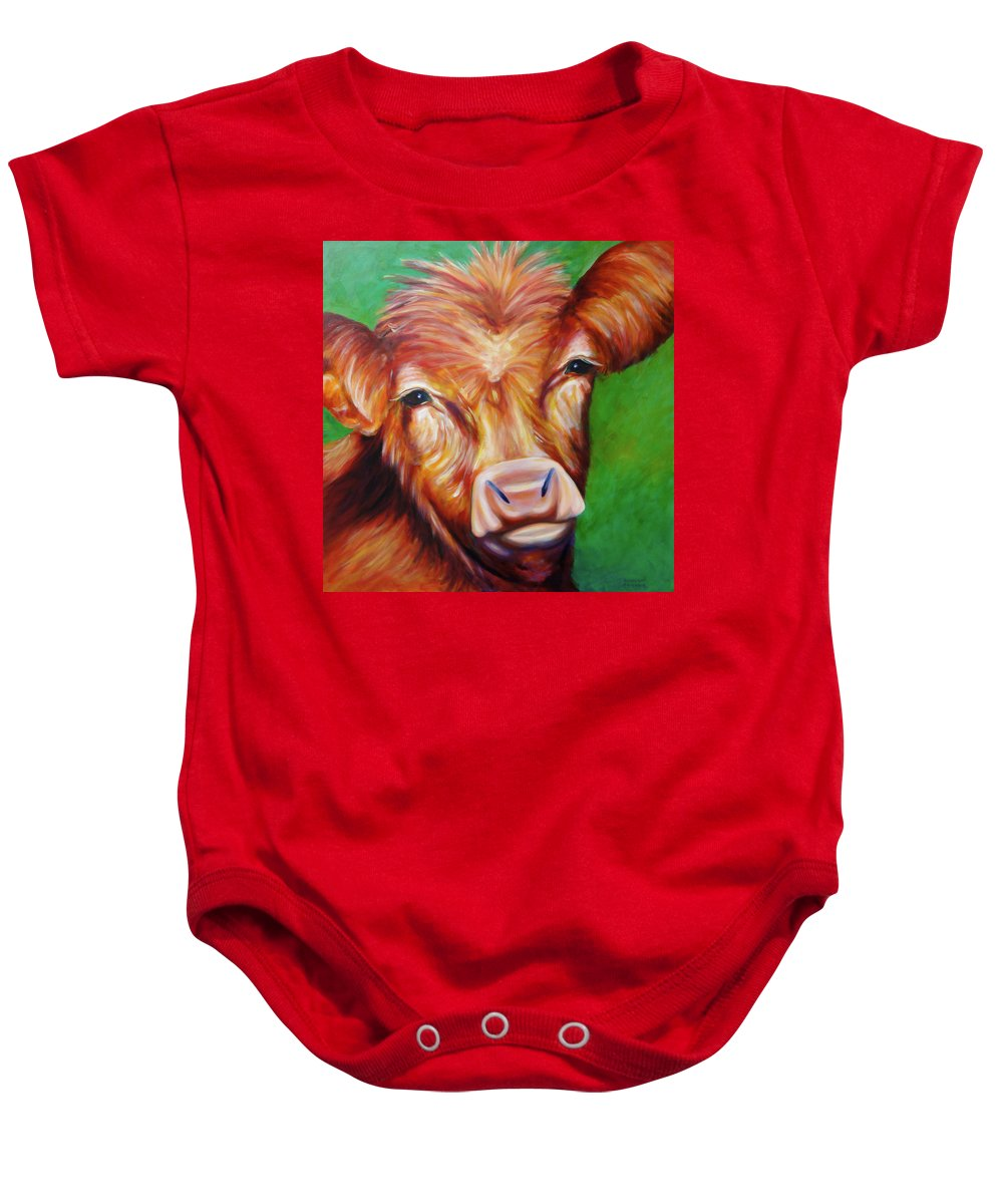 Bull Baby Onesie featuring the painting Van by Shannon Grissom