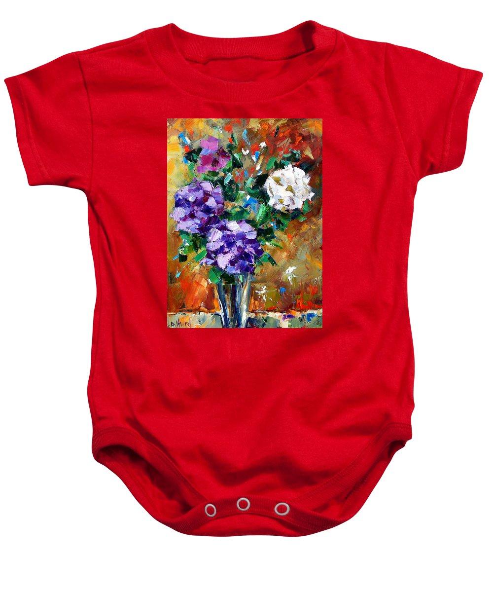 Flowers Baby Onesie featuring the painting Vase Of Color by Debra Hurd