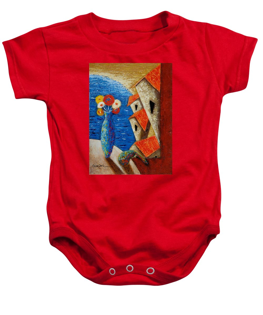 Landscape Baby Onesie featuring the painting Ventana Al Mar by Oscar Ortiz