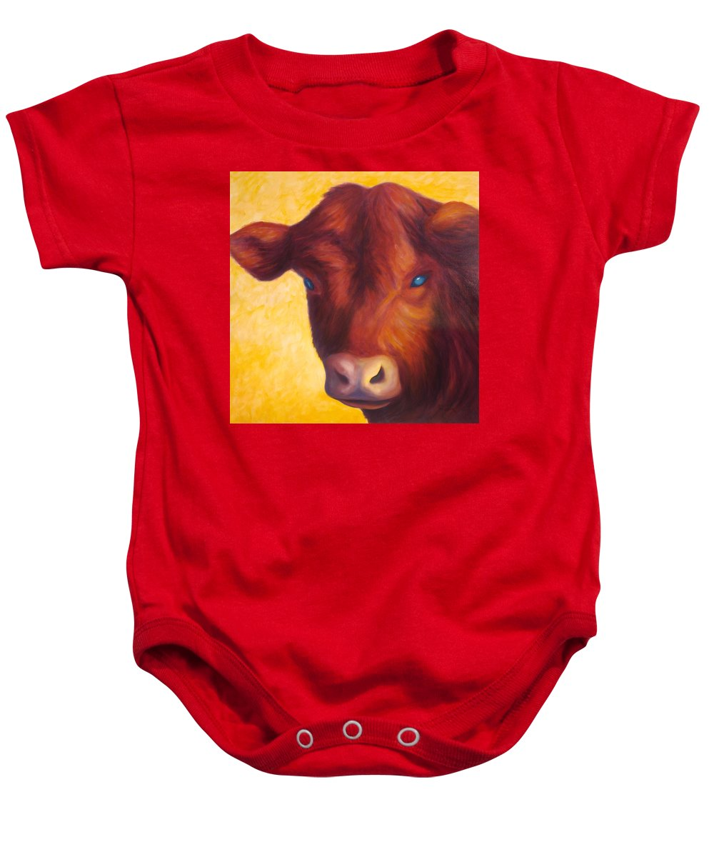 Bull Baby Onesie featuring the painting Vern by Shannon Grissom