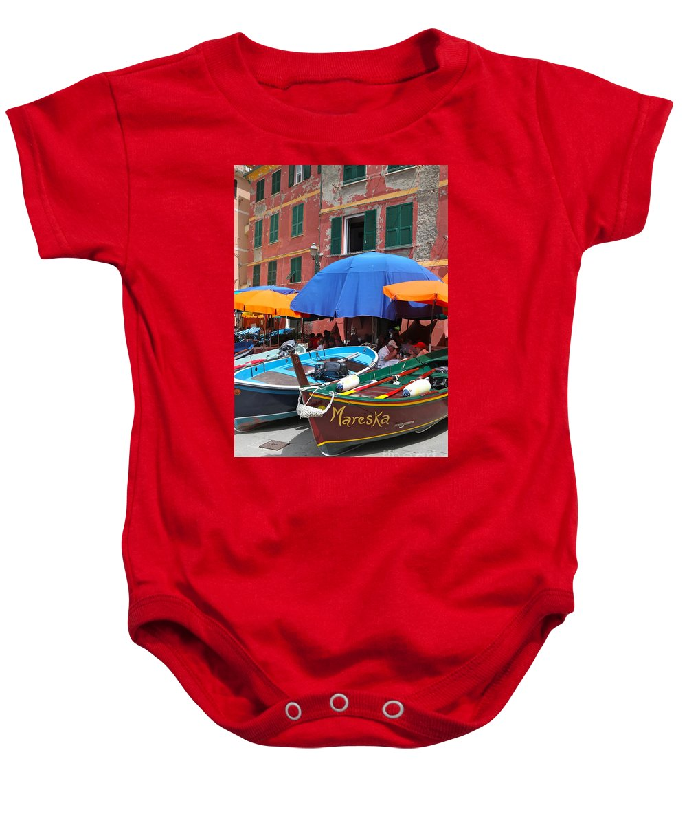 Boats Baby Onesie featuring the photograph Vernazza Boats by Nadine Rippelmeyer