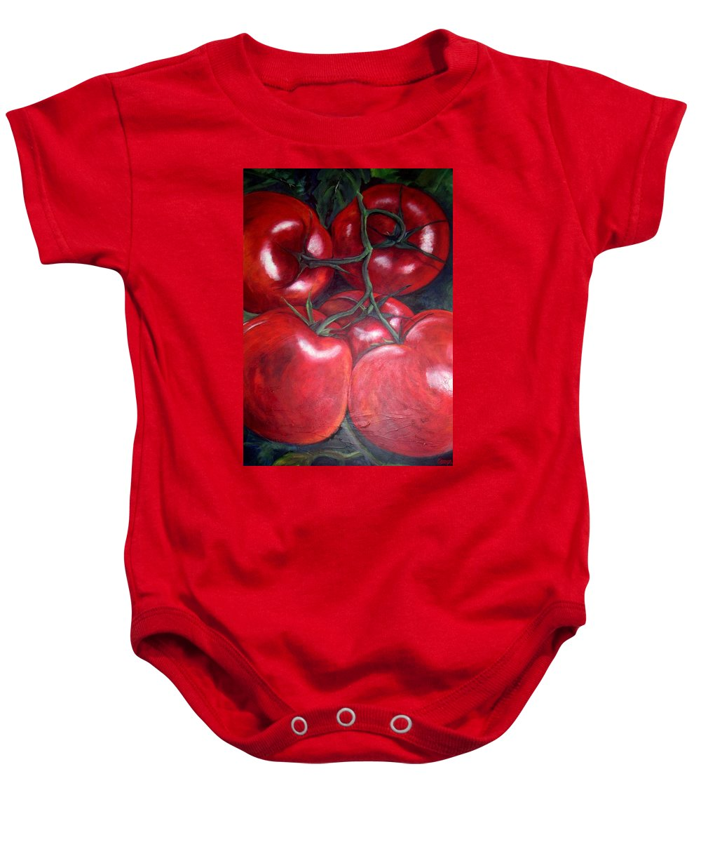 Red Tomatoes Baby Onesie featuring the painting Vine Ripened by Georgia Mansur