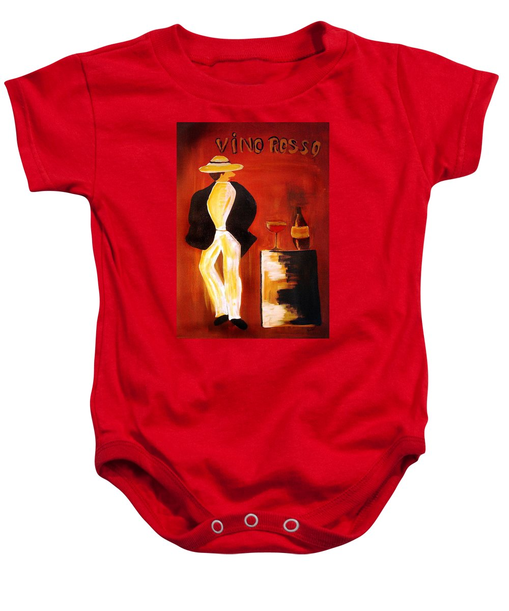 Italian Baby Onesie featuring the mixed media Vinorosso by Helmut Rottler