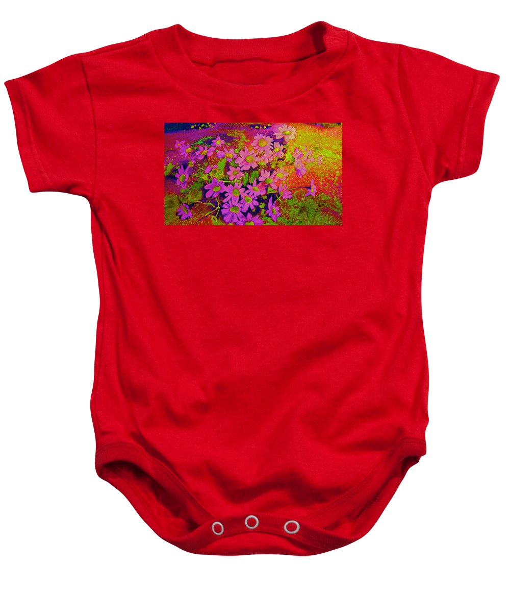 Violets Baby Onesie featuring the painting Violets Among The Heather by Carole Spandau