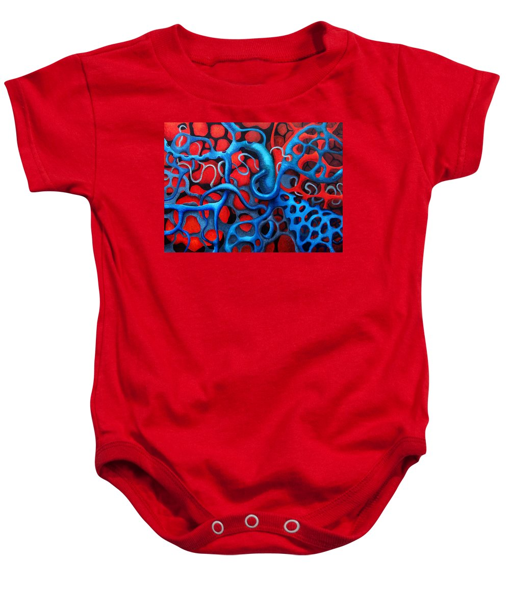 Abstract Baby Onesie featuring the painting Vital Network 2 by Nancy Mueller