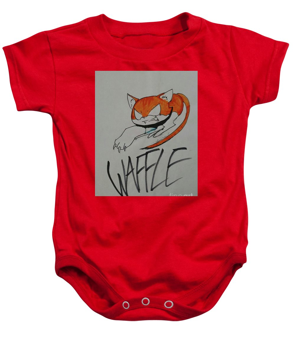 Baby Onesie featuring the drawing Waffle by Lauren Champion