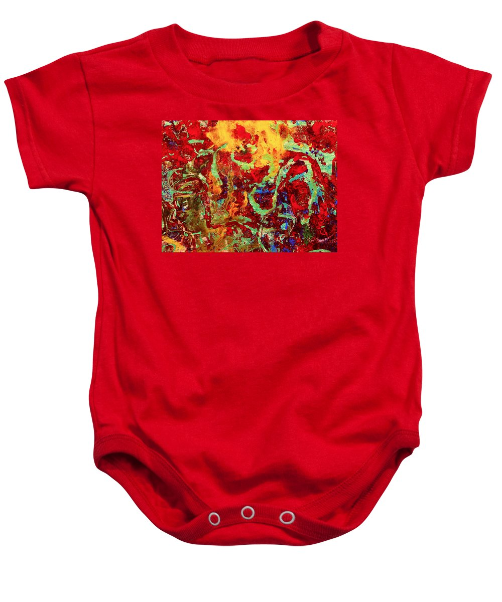 Abstract Baby Onesie featuring the painting Walking In The Garden by Natalie Holland