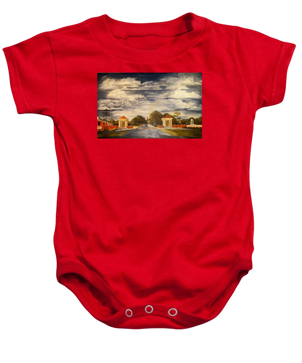 Mural University Of South Alabama Entrance School Dreams Clouds Rainbow Moulton Tower Clock Tower Baby Onesie featuring the painting Wall Mural At Usa Where Dreams Come True by Lynda McDonald