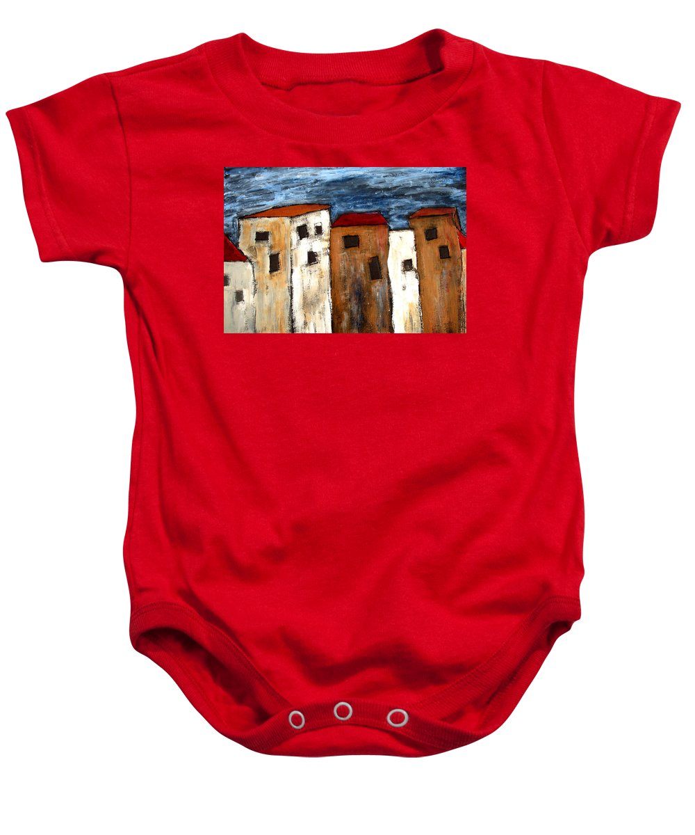 Acrylic Baby Onesie featuring the painting Warehouse Row by Wayne Potrafka