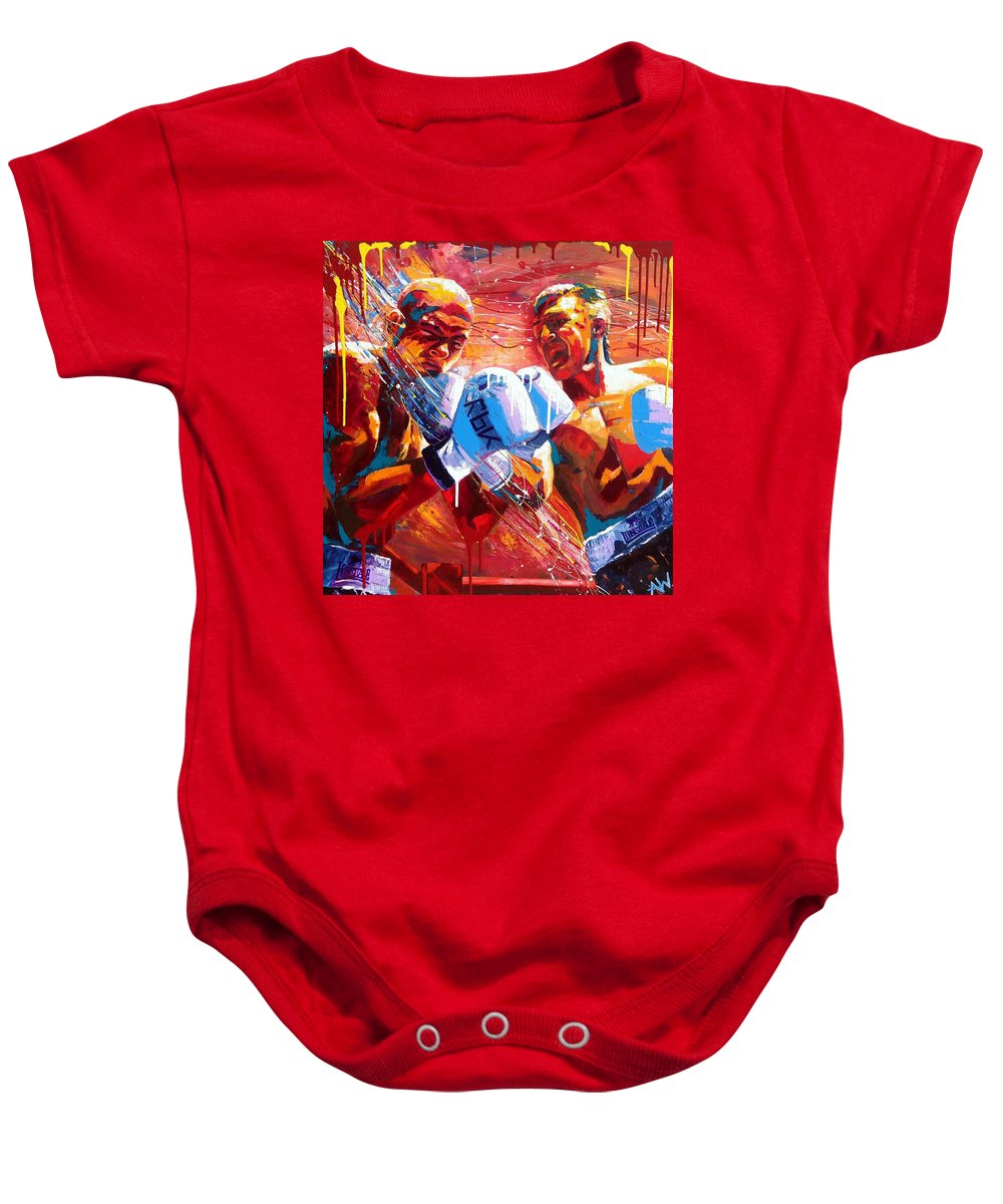 Art Baby Onesie featuring the painting Warriors by Angie Wright