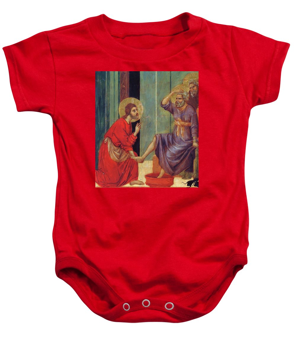 Washing Baby Onesie featuring the painting Washing Of Feet Fragment 1311 by Duccio