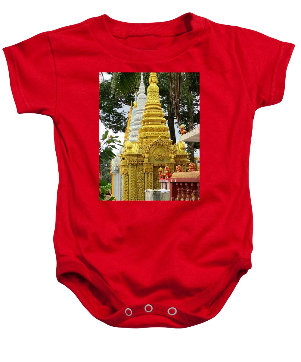 Cambodia Baby Onesie featuring the photograph Wat Krom 30 by Randall Weidner