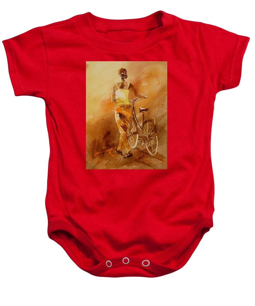Figurative Baby Onesie featuring the painting Watercolor With My Bike by Pol Ledent