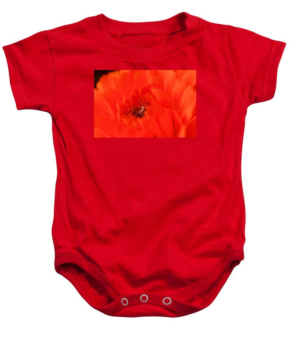 Flowers Baby Onesie featuring the photograph Waterdrop In The Pistils by Jeff Swan