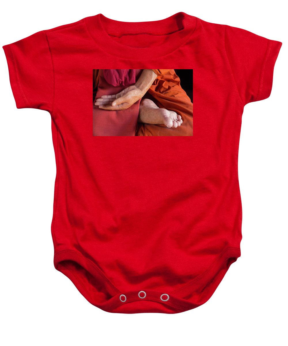 Asia Baby Onesie featuring the photograph Wax Monk by Emily M Wilson