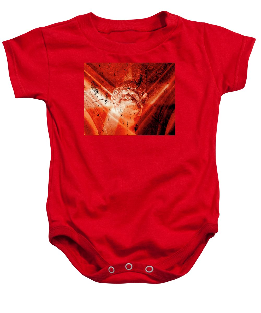 Aged Baby Onesie featuring the photograph Wells Cathedral Gargoyles Color Negative D by Jacek Wojnarowski