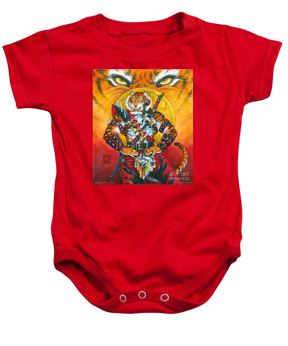 Fantasy Baby Onesie featuring the painting Werecat Warrior by Melissa A Benson