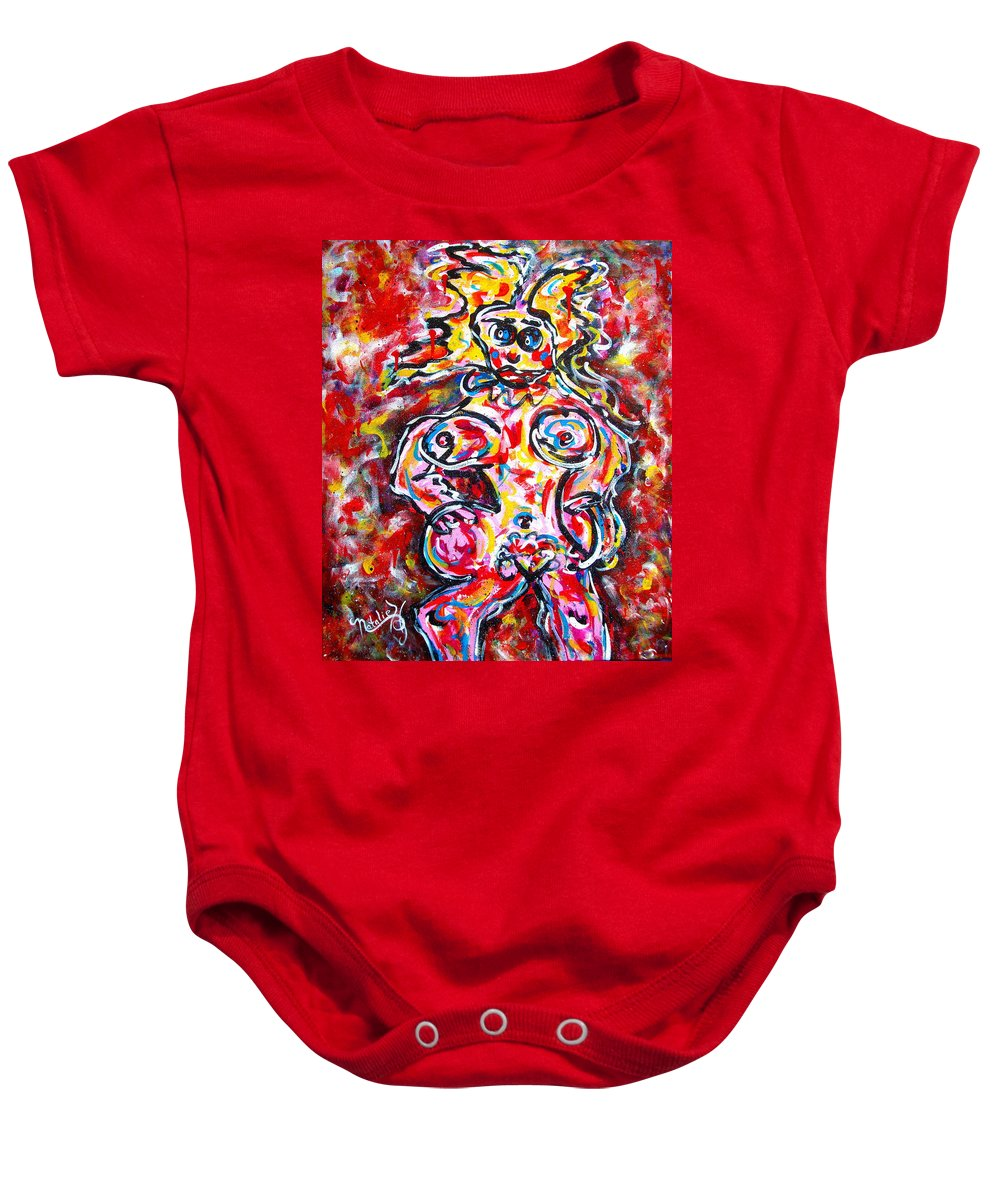 Abstracts Baby Onesie featuring the painting What Are You Looking At by Natalie Holland