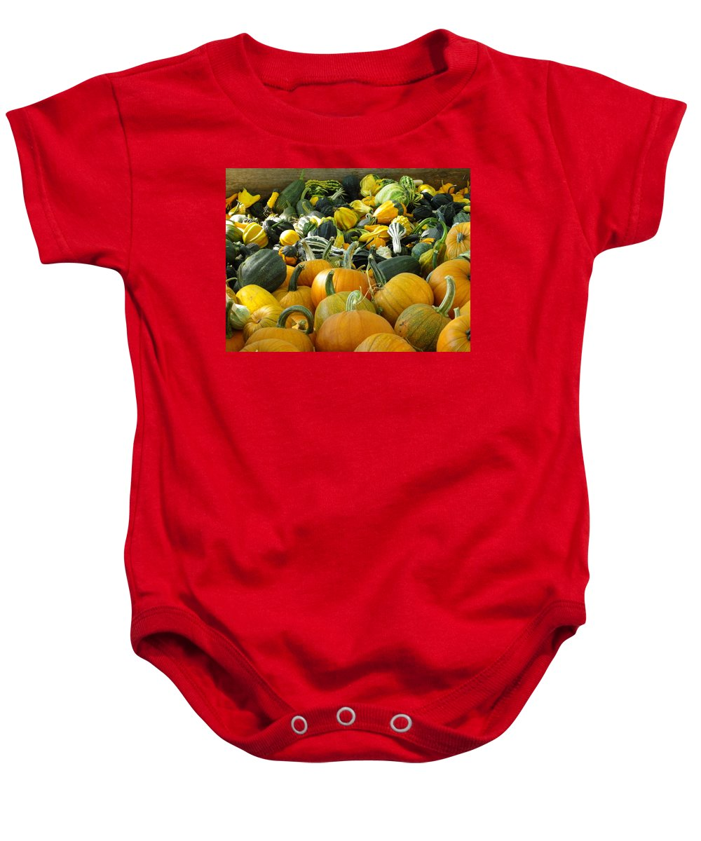 Pumpkin Baby Onesie featuring the photograph Which To Choose by Charleen Treasures