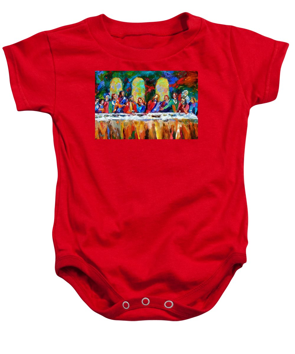 Last Supper Baby Onesie featuring the painting Who Among Us by Debra Hurd