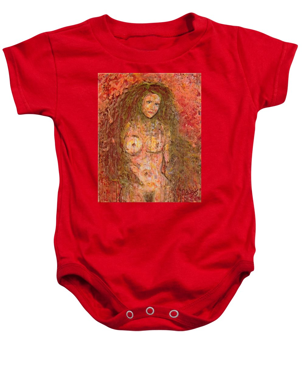 Nude Baby Onesie featuring the painting Wild Thing by Natalie Holland