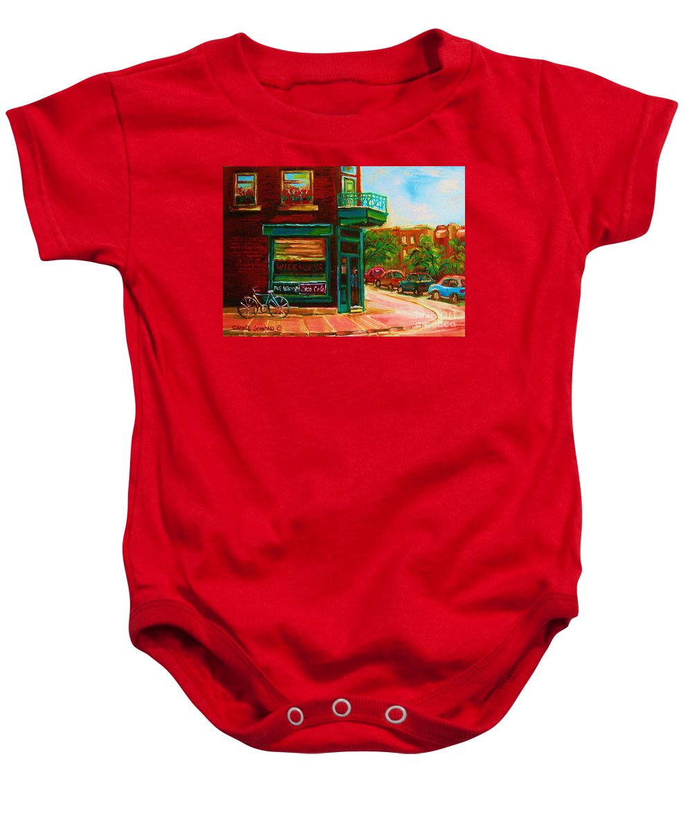 Wilenskys Baby Onesie featuring the painting Wilenskys With Red Geraniums by Carole Spandau
