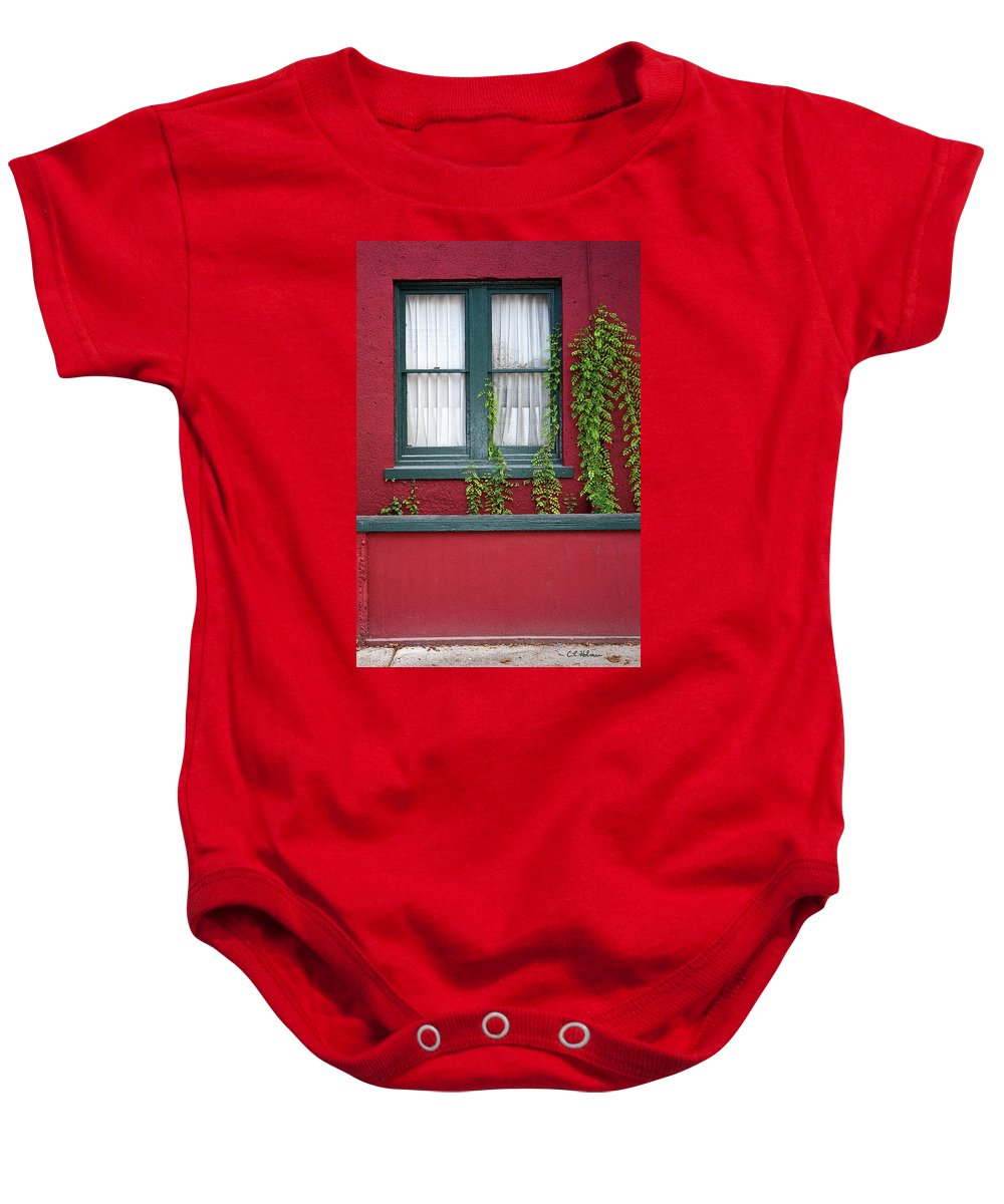 Window Baby Onesie featuring the photograph Window And Vines by Christopher Holmes