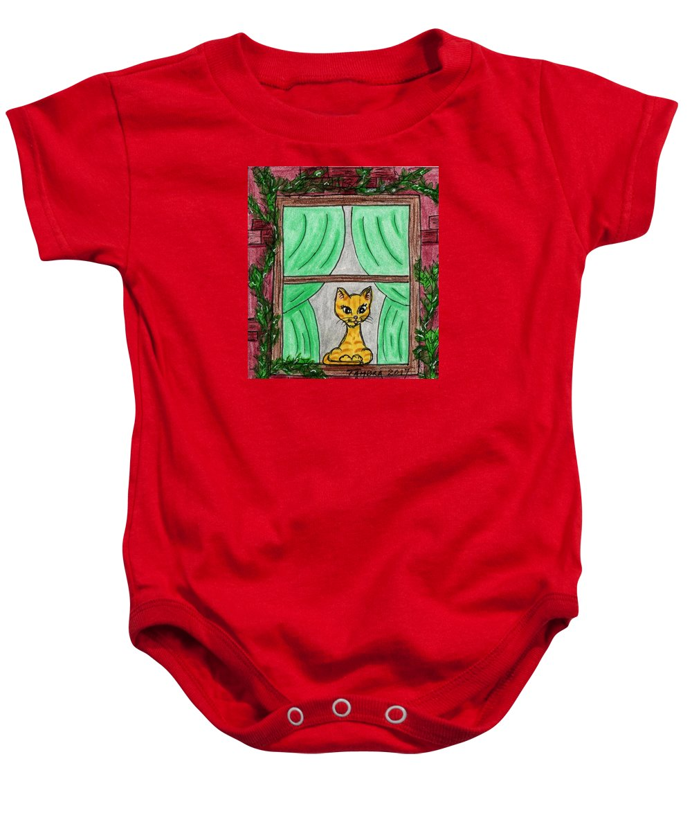 Window Baby Onesie featuring the painting Window by Tambra Wilcox
