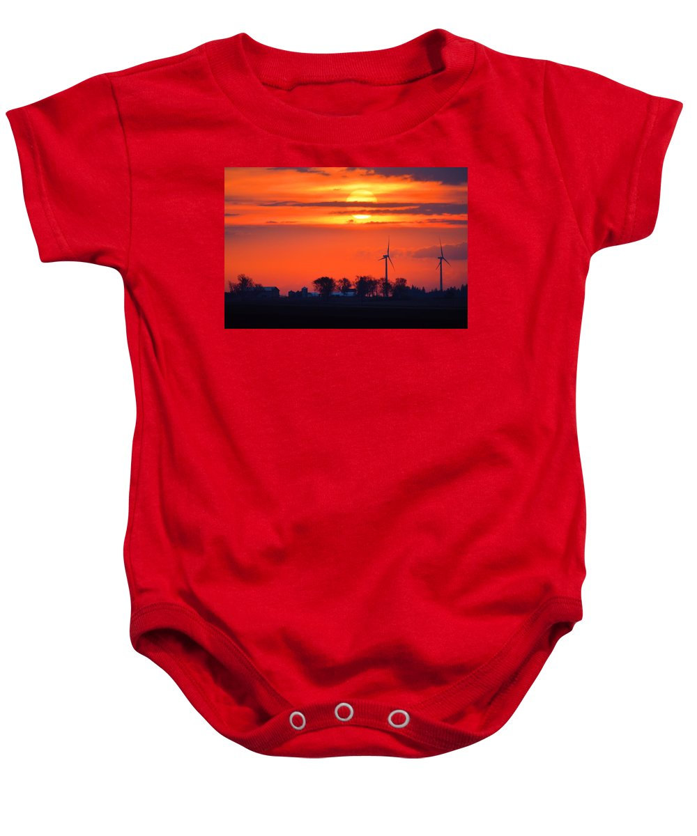 Sunrise Baby Onesie featuring the photograph Windpower Sunrise by Bonfire Photography