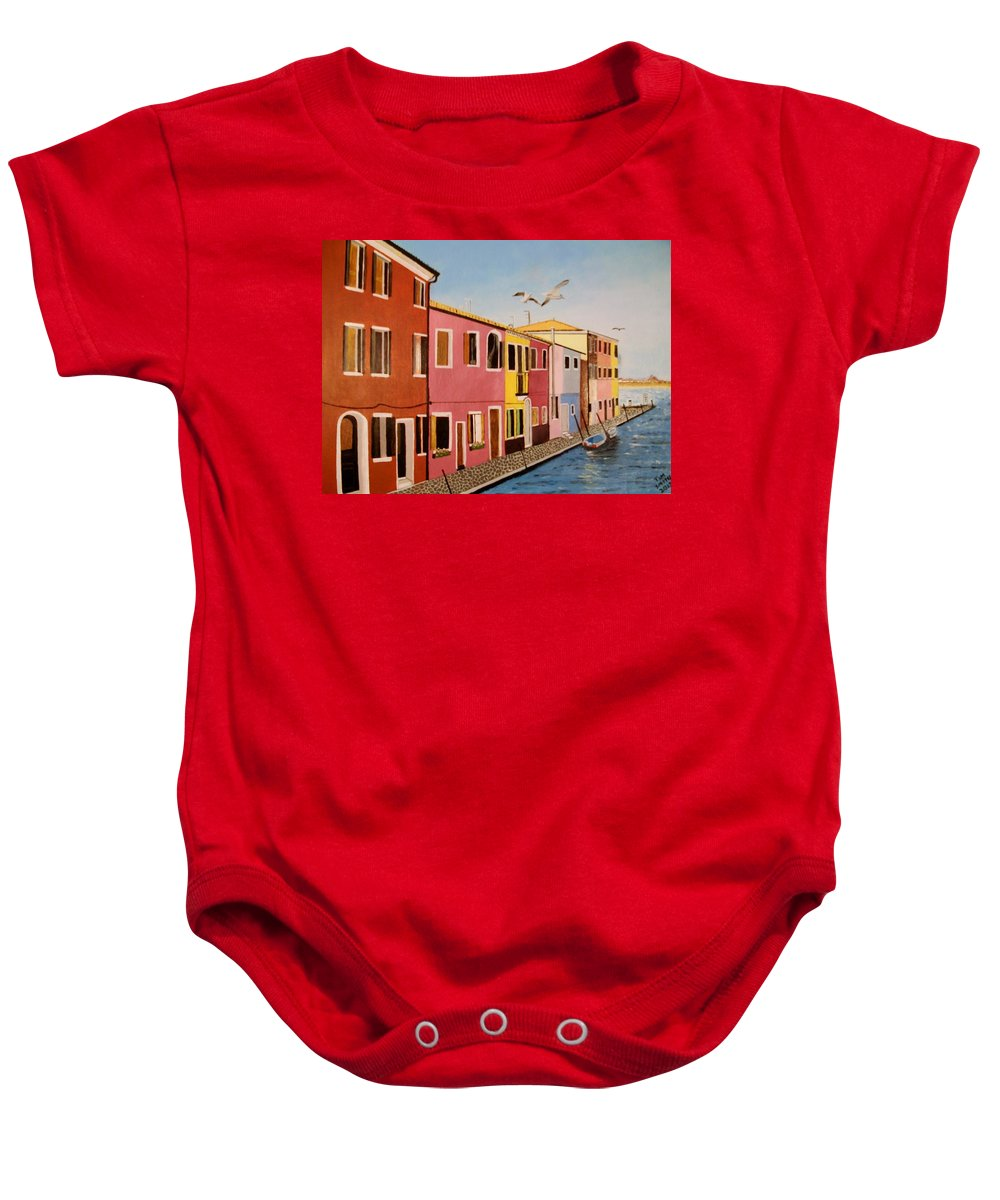 Venice Baby Onesie featuring the painting Wingin It In Venice by Tim Smith
