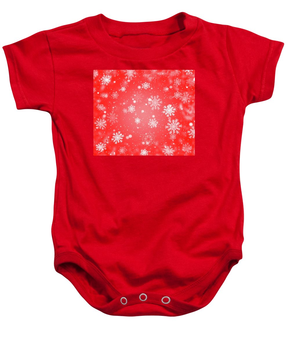 Red Baby Onesie featuring the digital art Winter Background With Snowflakes. by Timea Somogyi