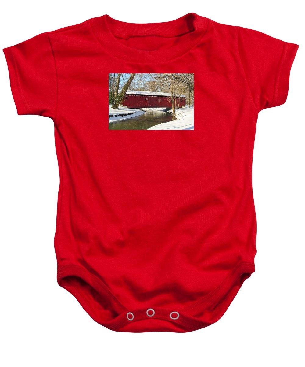 Covered Bridge Baby Onesie featuring the photograph Winter Bridge by Margie Wildblood