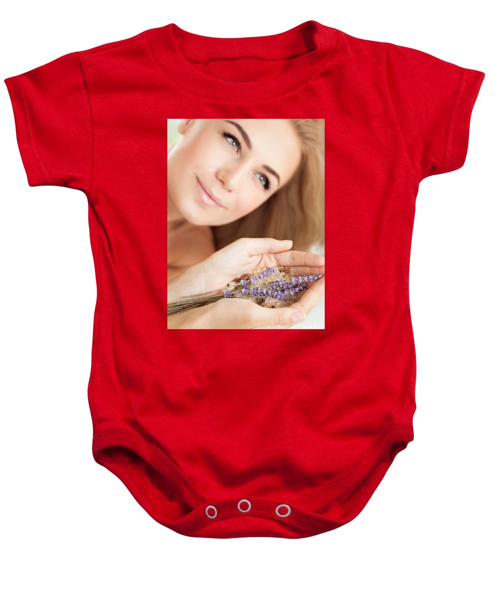 Anti-stress Baby Onesie featuring the photograph Woman At Beauty Salon by Anna Om