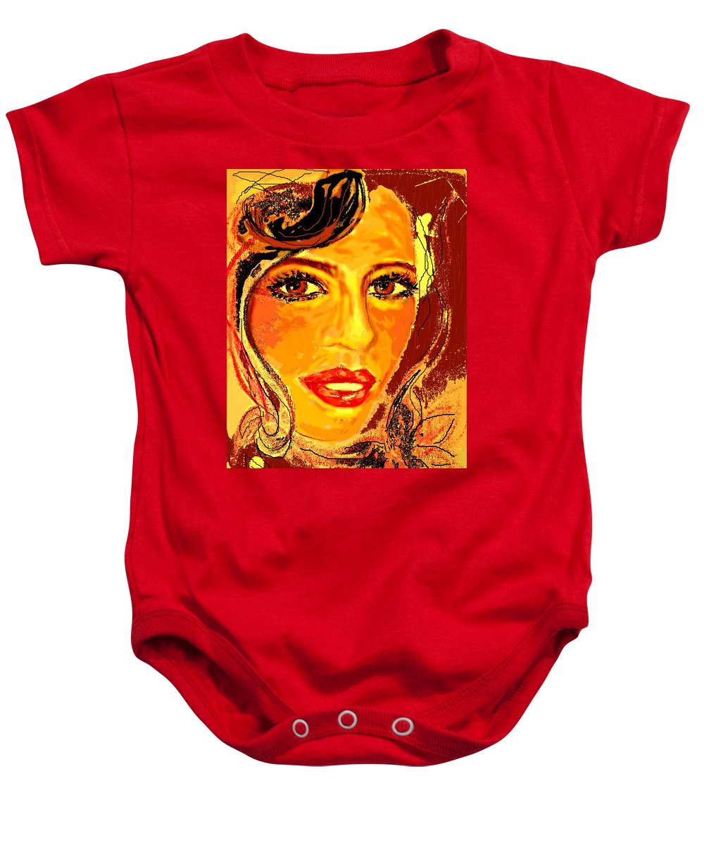 Original Pastel Drawing Of Woman Baby Onesie featuring the digital art Woman by Desline Vitto