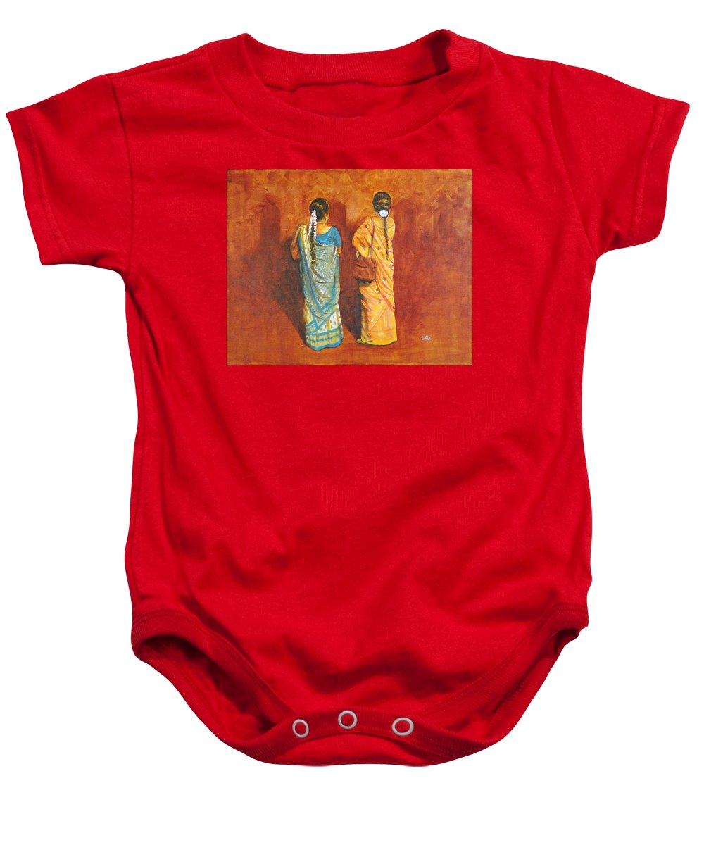 Women Baby Onesie featuring the painting Women In Sarees by Usha Shantharam