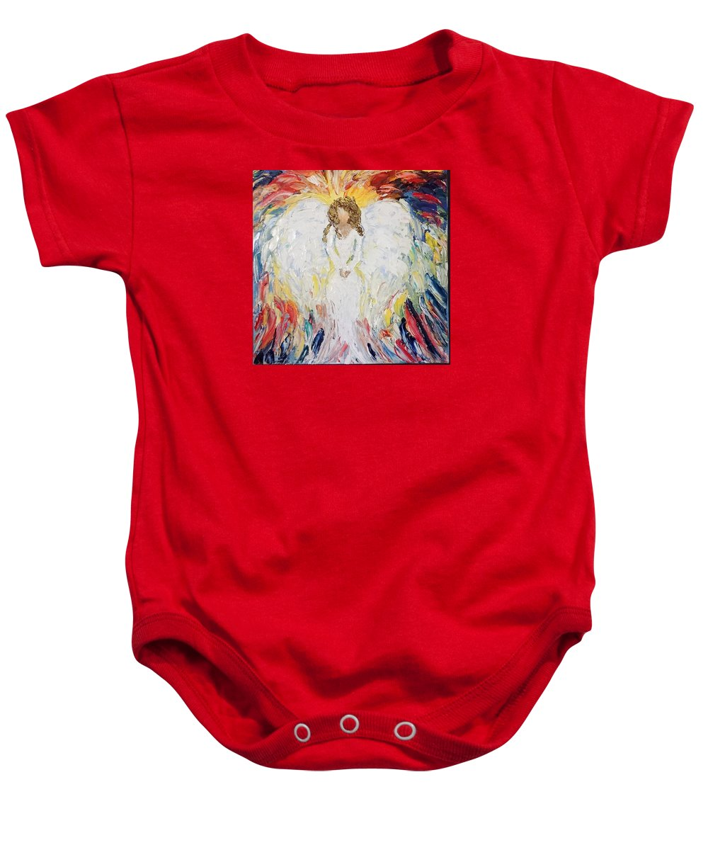 Angel Wonderful Mistically Power Of Colors Baby Onesie featuring the painting Wonderful Angel by Denisa Olbojan