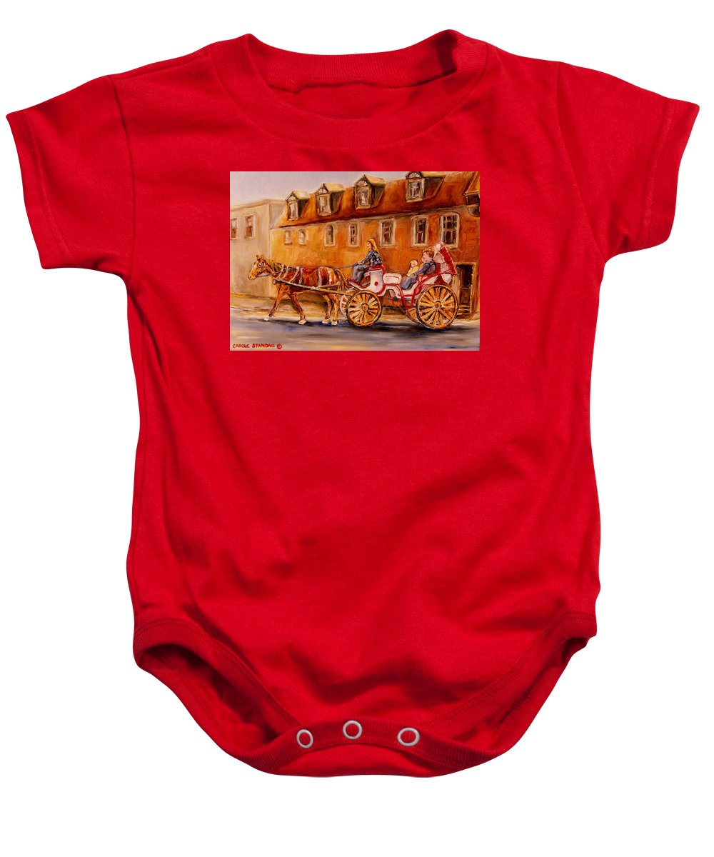 Quebec City Baby Onesie featuring the painting Wonderful Carriage Ride by Carole Spandau