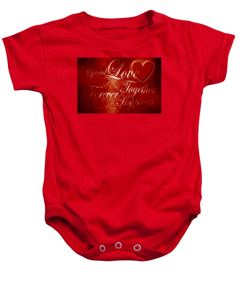 Love Baby Onesie featuring the digital art Words Of Love by Phill Petrovic
