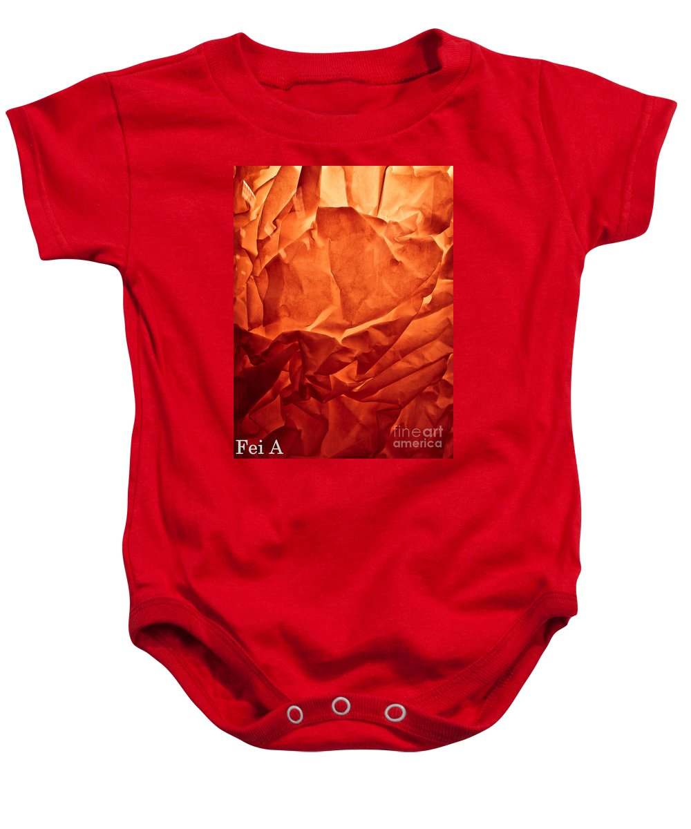 Abstract Baby Onesie featuring the photograph Wrinkled Passion by Fei A