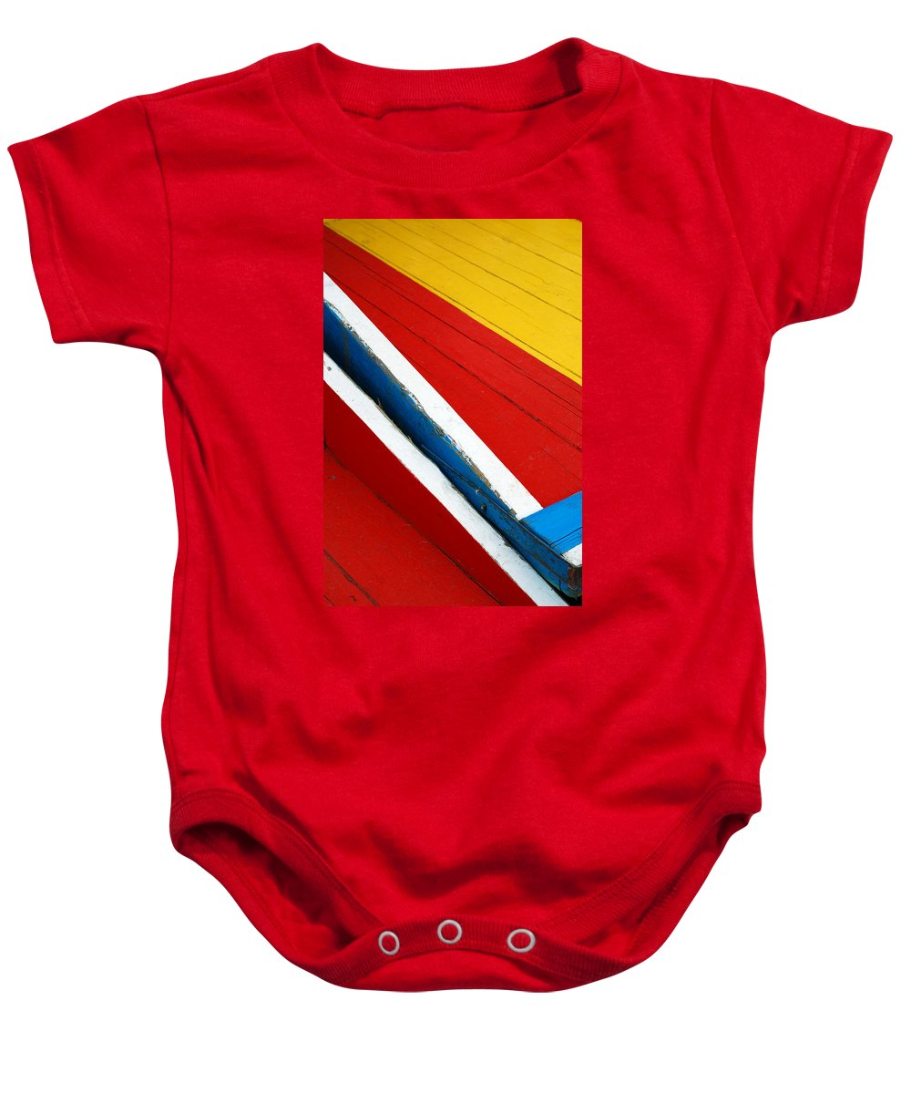 Red Baby Onesie featuring the photograph Xochimilco Boat Abstract 1 by Skip Hunt