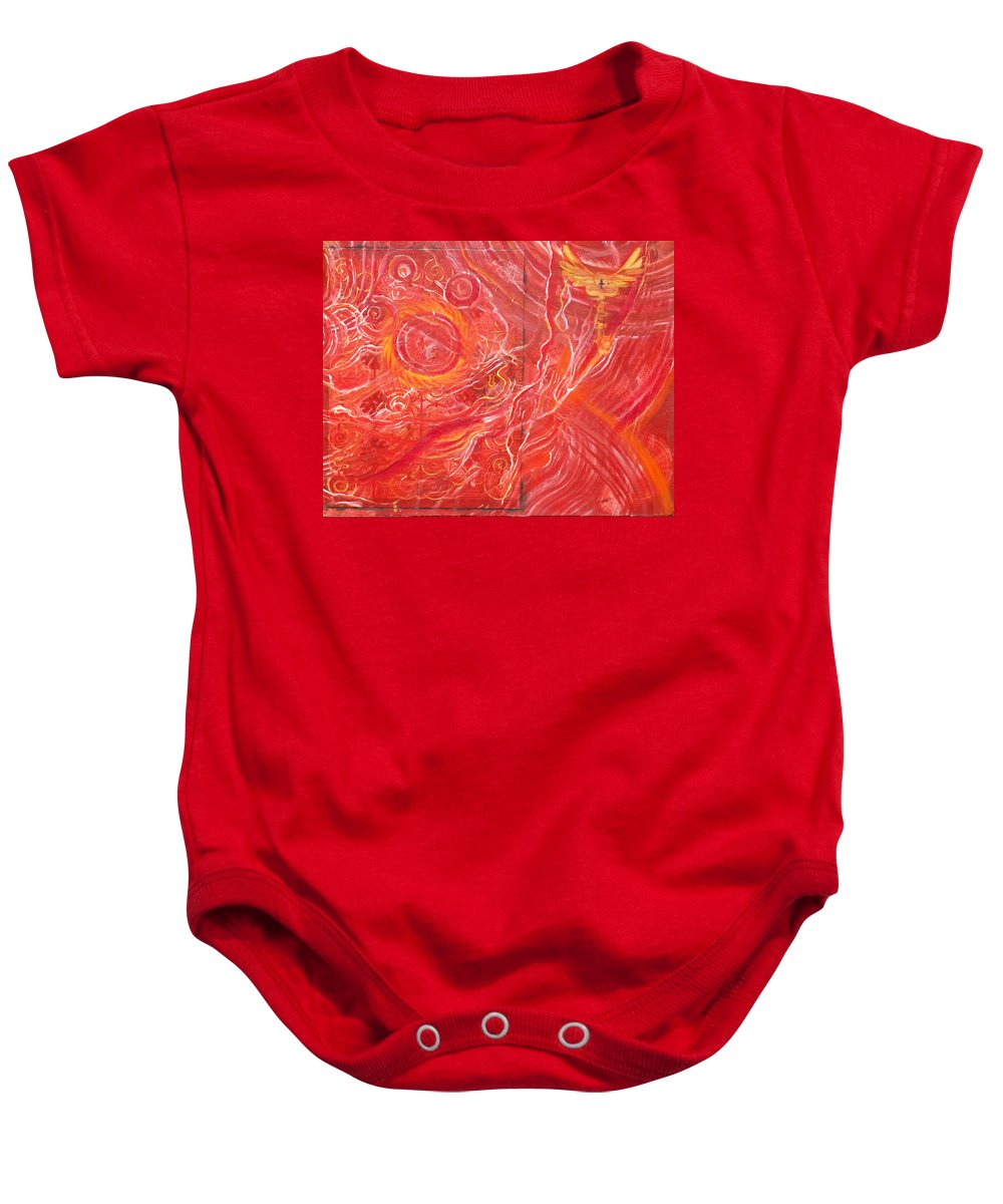 Hell Baby Onesie featuring the painting Yaweh El Shaddai Bottom Canvas Detail by Anne Cameron Cutri