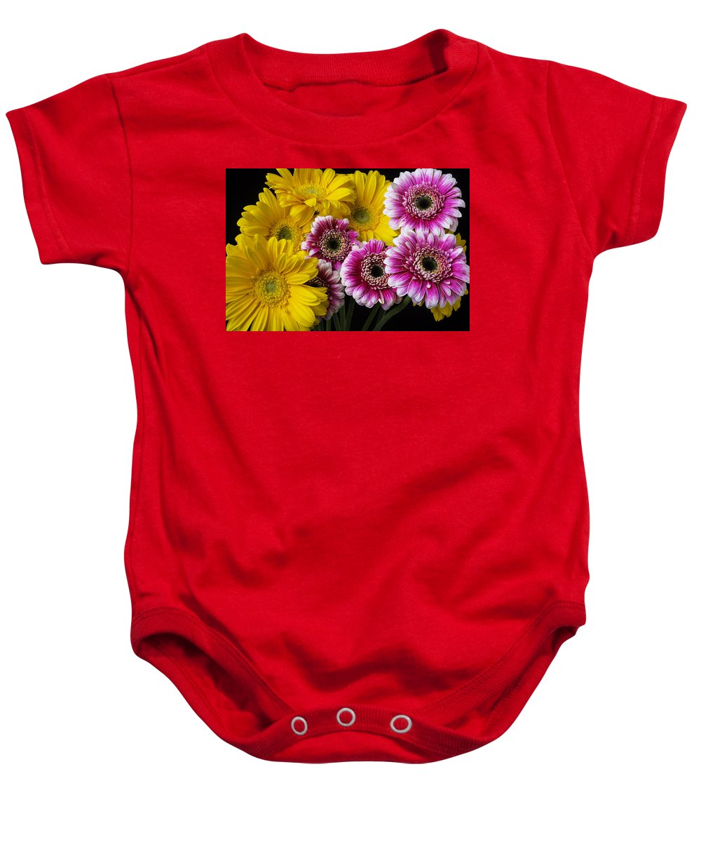 Horizontal Still Life Baby Onesie featuring the photograph Yellow And Pink Gerbera Daisies by Garry Gay
